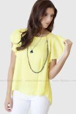 Lulus Modern Vintage Boutique Ruffle Sleeve Pleat Detail Blouse Yellow - Size S