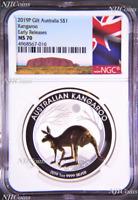2019 P Australia GILDED Silver Kangaroo NGC MS 70 1oz Coin w/OGP gilt ER-A LABEL