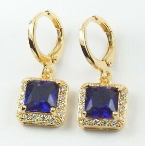 Women's Gold Plated Blue Crystal drop dangle Earrings