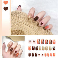 24 Pcs/Set  Heart Short False Fake Nail Stickers Full Cover Nail Art Press OnMFS