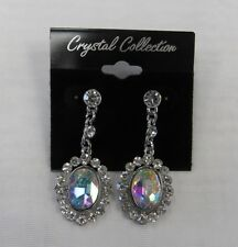 Dangle Earrings Silver Iridescent Rhinestone Crystal Prom Wedding Bridal 01256
