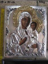 Ikone Muttergottes Iviron Virgin Bild Gold 24 ct Kupfer Silber vergoldet Икона