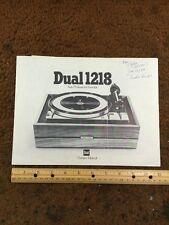 "Dual 1218 Turntable ""Original"" Owners Manual 9 Pages , Shipped Insured"
