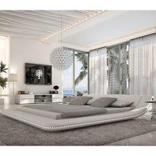 Bett 160x200 cm LED Kunstleder Polsterbett Designerbett Doppelbett Ehebett