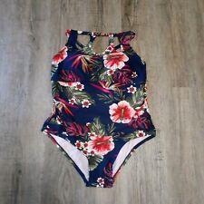 Kona Sol NWT One-Piece Swimsuit ~ Navy Blue ~ Floral ~ Sz 14W