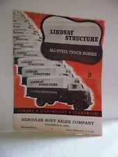 Vintage Lindsay Structure Truck Sales Brochure Hercules Body Sales Columbus Ohio