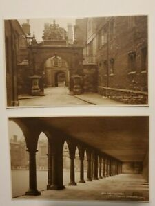 Two Trinity College Cambridge England Vintage sepia Postcards Cloisters Gateway