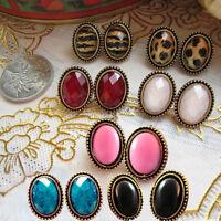Women Vintage Style Big Rhinestone Elliptic Earrings Ear Stud Lovely Jewelry