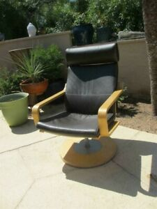 Poang Swivel by IKEA 20976  brown leather heavy base retired style PICK UP AZ