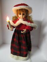 """Vintage 24"""" Holiday Christmas Figurine Girl, Caroler Animated & Illuminated W/ C"""