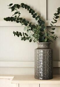 Next Grey Retro Floral Ceramic Vase H26cm Embossed Goes With Curtains