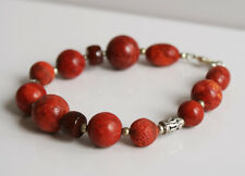 Handcrafted Red Coral Brown Carnelian Genuine Semi-precious Gemstone Bracelet