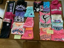 GIRLS JUSTICE GYMNASTICS CLOTHING SIZE 7 & 8 - LOT OF 18 PIECES SWEATPANTS, TOPS