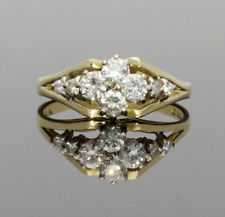 VINTAGE 18CT GOLD 8 STONE DIAMOND CLUSTER RING - 1982
