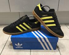 "Para Hombre Adidas ""Hamburg"" Negro/yellowtrainers Size UK 8/EU 42 -! Excelente Estado!"