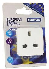 Euro Travel Adapter UK 3 PIN Plug Converts to European 2 Pin Round