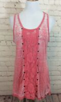 Contemporary Style Signature Studio Womens Pink Tank Top Size Large Lace Rivets