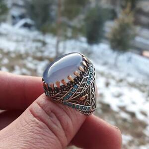 Yemeni Agate Authentic Natural Transparent Blue Yemen aqeeq Turkish Silver Ring