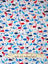 Whale Fish Fabric - Blue Red Aqua Ocean Whales C1675 Timeless Treasures - Yard