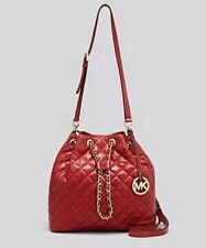NWT MICHAEL KORS Frankie Quilted Large Drawstring Convertible Bag Dark Red Gold