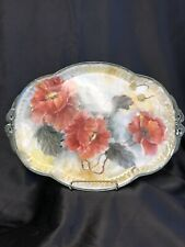 Hand Painted Porcelain Platter Orange Poppies 11 X 15
