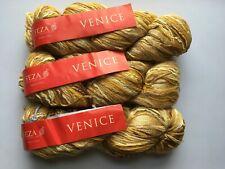 LOT of 3 Feza Venice #22 Amber Gold HandTied Wool Nylon Silk Cashmere KidMo Yarn