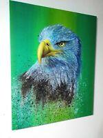 Peinture, huile sur toile, tableau surréaliste, année 2020, aigle format 40/50