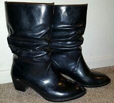 Women's retro cowgirl rocker biker all around style Black boots size 8
