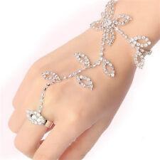 Crystal Rhinestone Leaf Hand Harness Bracelet Slave Chain Link Foot Finger Ring