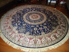 Persian Silk Rugs 8' Round Rugs Navy Silk Rug Circle Floor Carpet Tabriz 8x8 Ft