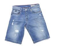 Kaporal Mens Blue Ripped Effect Denim Shorts Size W28/L11