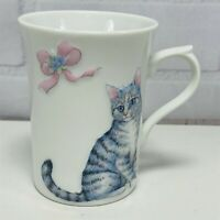 Tabby Silver Gray Cat Kitten Pink Ribbon 3D Coffee Mug Tea Cup 10oz Japan