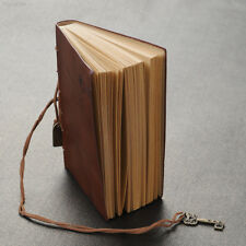 C63A Hot Leather Cover Diary Travel Journal  With Strip Key Decor New Dark Coffe