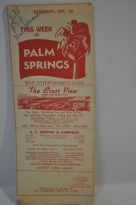 1950's This Week In PALM SPRINGS Map and Entertainment Guide
