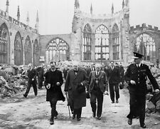 "Winston Churchill Coventry Cathedral Ruins 8""x 10"" World War II WW2 Photo 539"