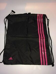 Adidas 3S Performance Black Pink Stripe Gymsack Sports Drawstring Bag BNWT