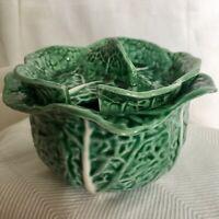 Vintage Portugal Green Cabbage Leaf Majolica Sugar Bowl with Lid - No Spoon