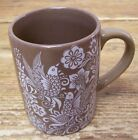 Birds inTree Floral White on Brown Coffee Mug Cup