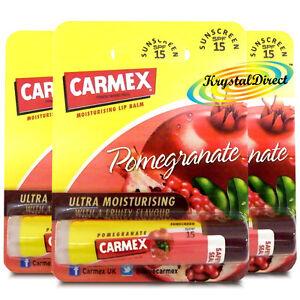3x Carmex Pomegranate Click Stick Moisturising Dry & Chapped Lip Balm With SPF15