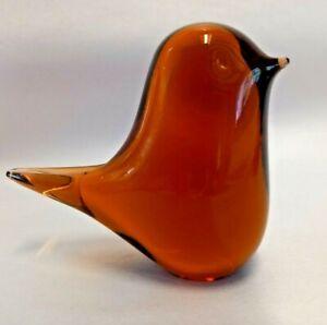 Vintage Wedgwood orange glass bird paperweight