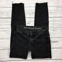 Articles of Society Skinny Jeans Size 24 Myra Blackout Wash Raw Frayed Hem