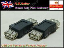2 x USB 2.0 Plug A Female to Female Coupler Cord Converter Adapter