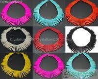 Howlite Turquoise Gemstone Graduated Stick Spike Choker Necklace Beads 16'' Pick