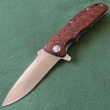 Enlan Classic Wood Handle Liner Lock Camping Pocket Folding Knife Tool EL-01