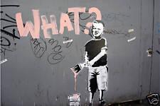"""Banksy - WHAT? Graffiti photo Art- 24""""x36"""" Canvas Print"""