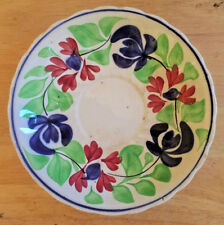 """Antique Allertons Persian Ware England Saucer Hand Painted Floral Red Blue 6"""""""