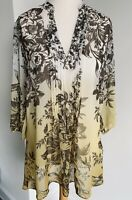 M&S Collection Blouse Multi Floral Sheer Tunic V-Neck Crystals Pleated Size 18