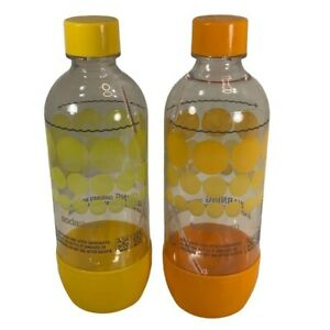 Soda-Stream Carbonating Water Bottles 1 Liter 2 Replacement Orange Yellow New