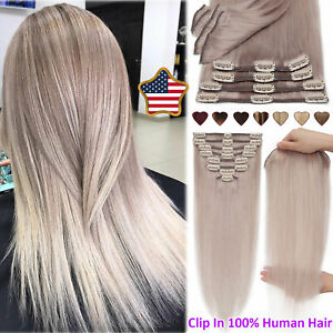 """8-24"""" Premium 100% Real Clip In Remy Human Hair Extensions Weave Full Head #Grey"""