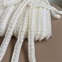 2Yds Pearl Lace Edge Trim Wedding Ribbon Beaded Applique DIY Sewing 12mm Width